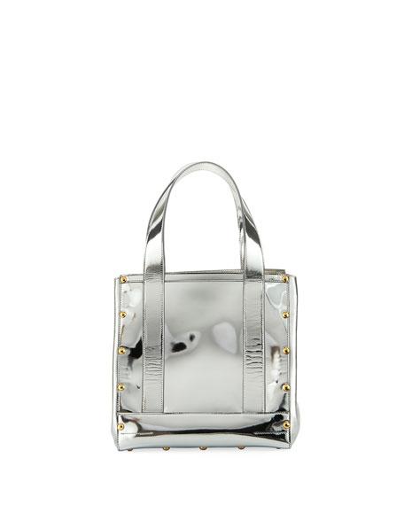 Small Metallic Leather Tote Bag