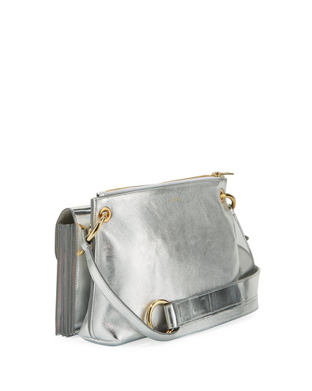 Modular Metallic Leather Pouch Shoulder Bag