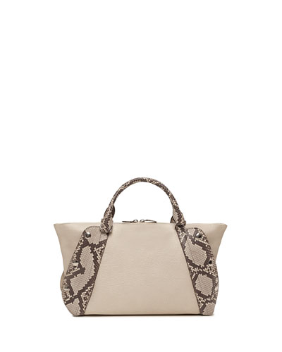 Aimee Small Bicolor Leather & Python Satchel Bag