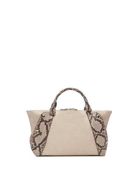 Aimee Small Bicolor Leather & Python Satchel Bag