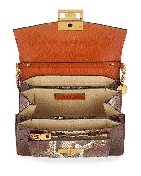 bd1ede1c2a4c Givenchy Gv3 Mini Snake-Effect Leather Shoulder Bag In Brown