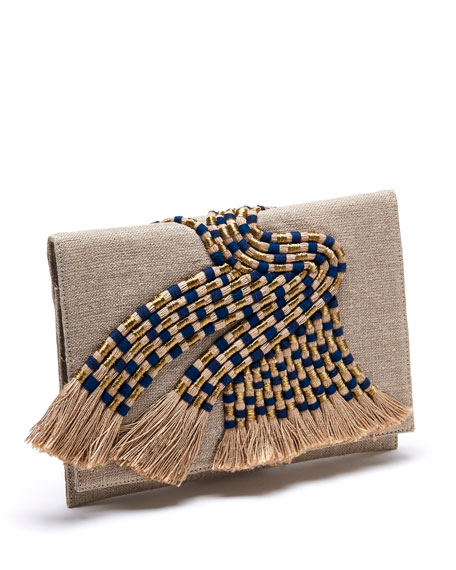 Maia Tassel-Embellished Linen Clutch Bag