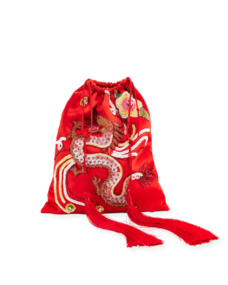 Dragon-Embroidered Satin Pouch Bag