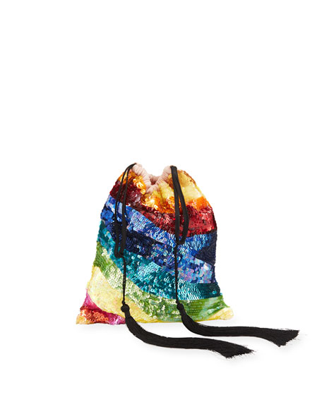 Sequined Rainbow Drawstring Pouch Bag
