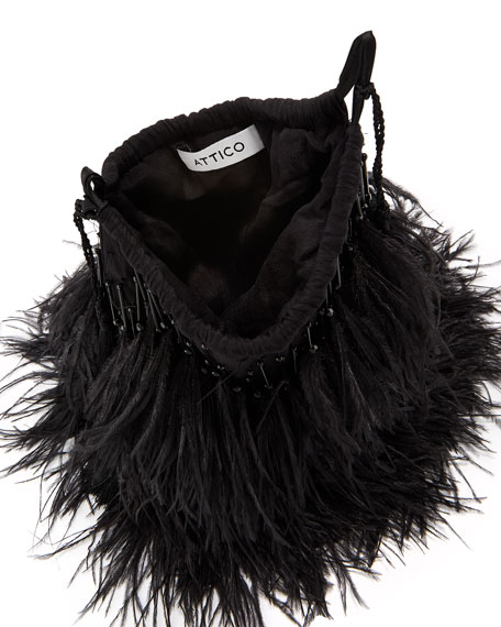 Feather-Embellished Satin Drawstring Bag