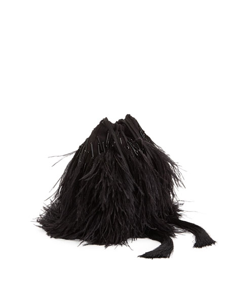 Feather-Embellished Satin Drawstring Bag