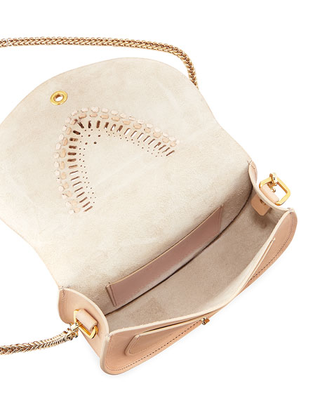 Leather Tooling and Fringe Flap Crossbody Bag