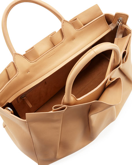 Peggy Pleated Leather Tote Bag