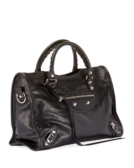 Classic City Leather Tote Bag with Logo Strap