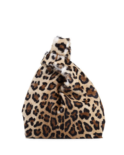 Furrissima Leopard-Print Calf Hair Fur Shopper Tote Bag