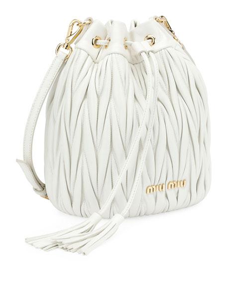 Matelassé Leather Drawstring Bucket Bag