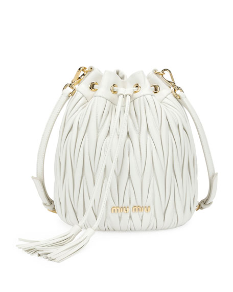 Miu Miu Matelassé Leather Drawstring Bucket Bag 17f501ade2db