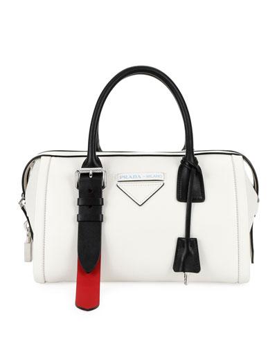 Colorblock Leather Side-Buckle Duffel Bag