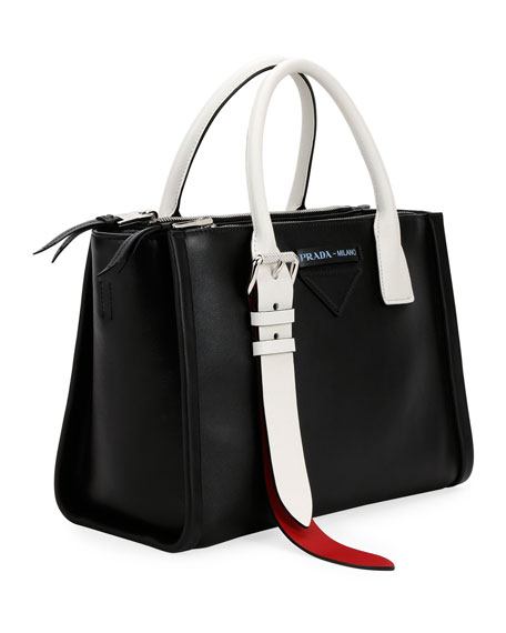 Colorblock Leather Side-Buckle Satchel Bag
