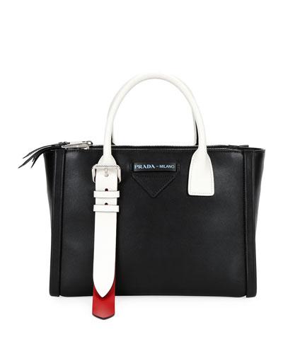 Colorblock Leather Side-Buckle Satchel Bag