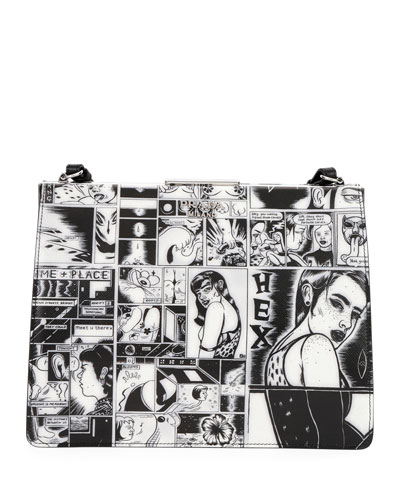 Comic-Print Leather Frame Shoulder Bag