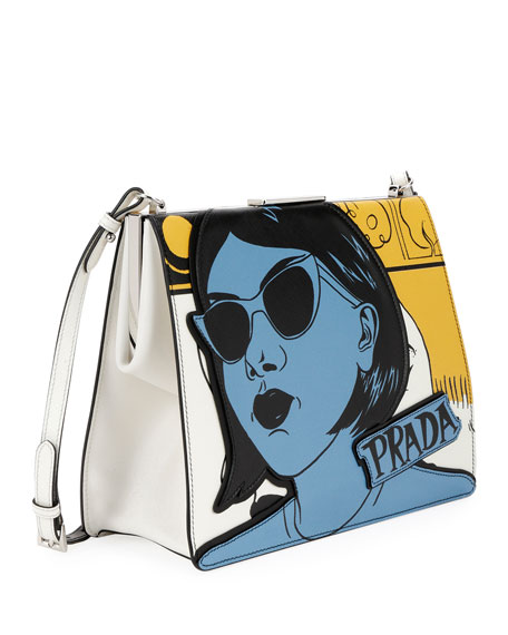 Woman-Print Saffiano Frame Shoulder Bag