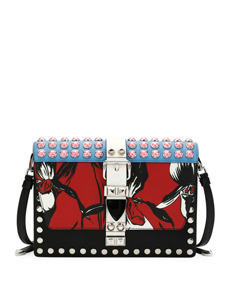 Printed and Studded Flat Crossbody Bag