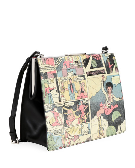 Cartoon-Print Saffiano Frame Shoulder Bag