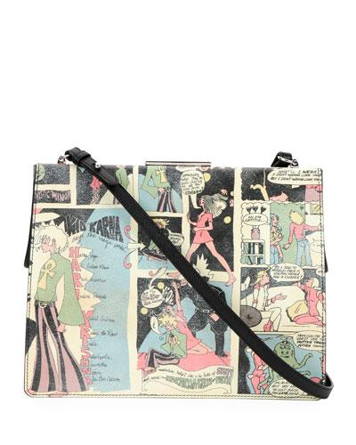 Cartoon-Print Saffiano Frame Shoulder Bag