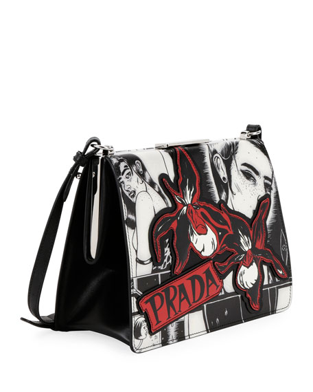 Cartoon-Print Frame Shoulder Bag