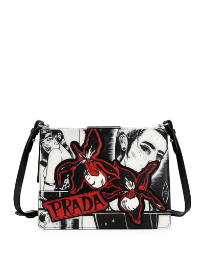 Cartoon-Print Frame Shoulder Bag