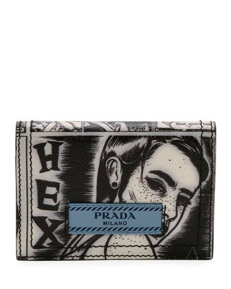 bb024fc274aa98 Prada Comic-Print Bi-Fold Wallet