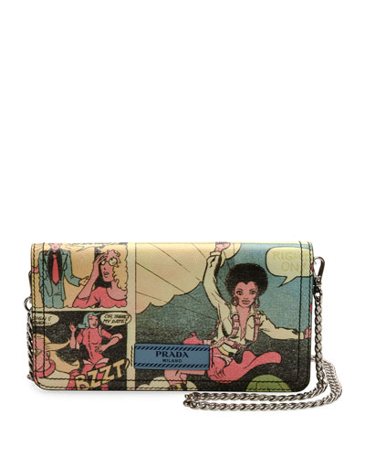 Vintage Comic-Print Wallet-on-Chain