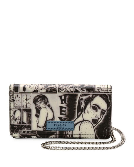 5ef522106c67f7 Prada Comic-Print Wallet-on-Chain