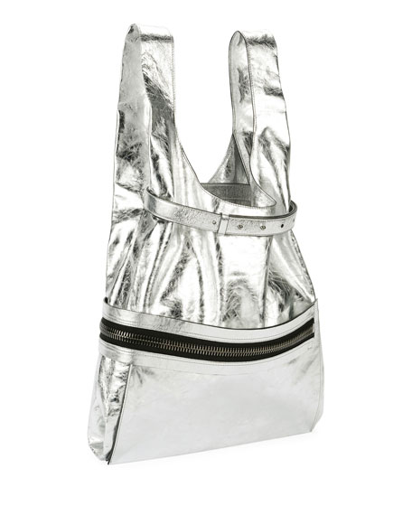 Metallic Paper Leather City Tote Bag