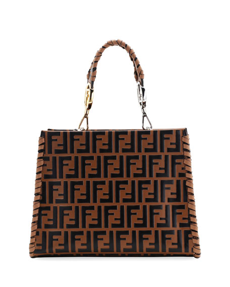 Small Runaway Whipstitch Logo Leather Tote Bag