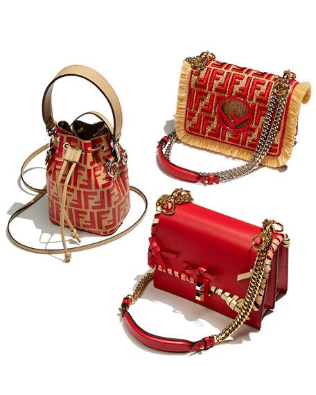 Small Kan I Raffia FF Shoulder Bag