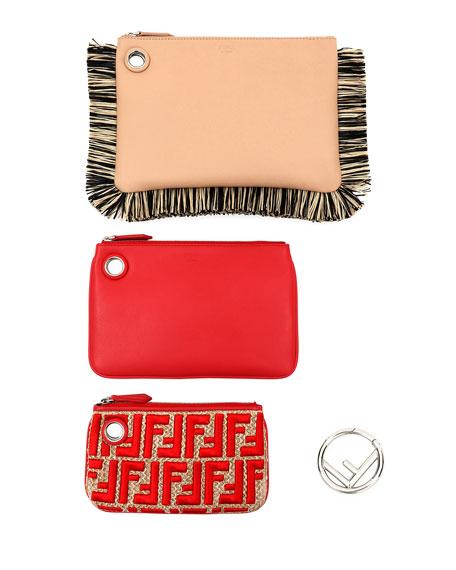 Triplette Raffia-Fringe Card Case on Ring