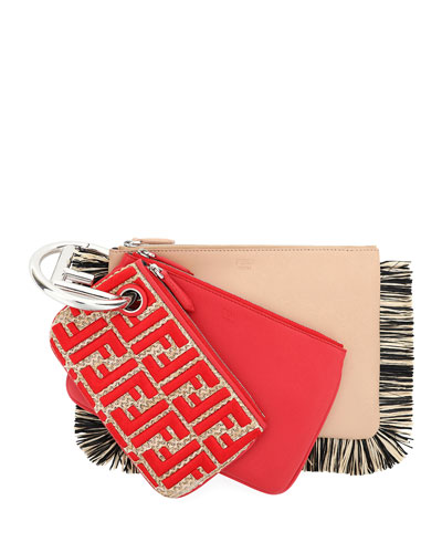 Triplette Raffia-Fringe Card Case on Ring