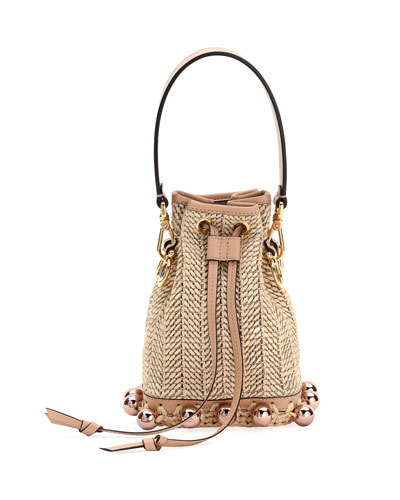 Mon Tresor Woven Bucket Crossbody Bag