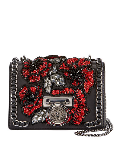 Leather Flower-Embellished Crossbody Bag
