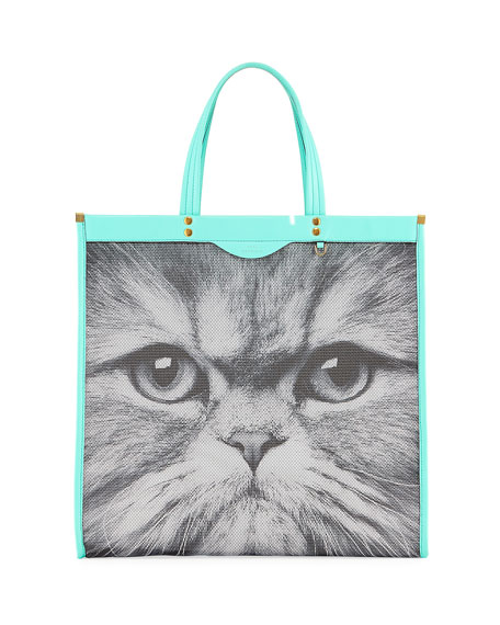 turquoise Kitsch Cat mesh and leather tote bag