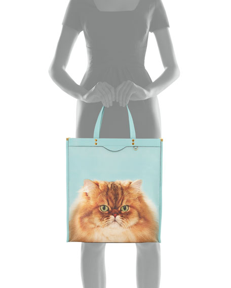 Tall Kitsch Cat Leather Tote Bag
