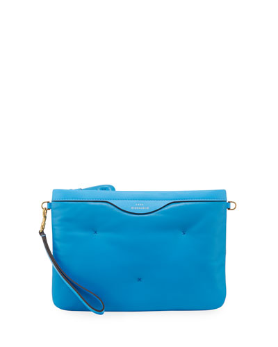 Chubby Crossbody Leather Pouch-on-Strap, Blue