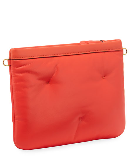 Chubby Crossbody Leather Pouch-on-Strap, Peach