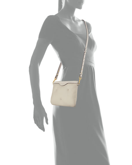 Chubby Crossbody Leather Pouch-on-Strap, Light Gray