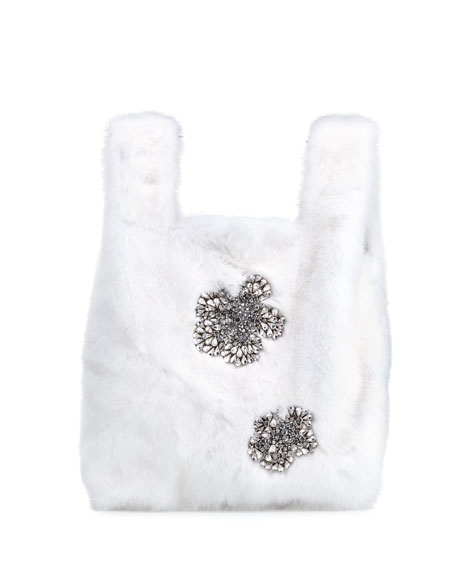 Furrissima Crystal Mink Fur Shopper Tote Bag
