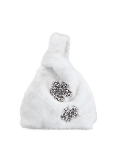 Furrissima Crystal Mink Fur Shopper Tote Bag