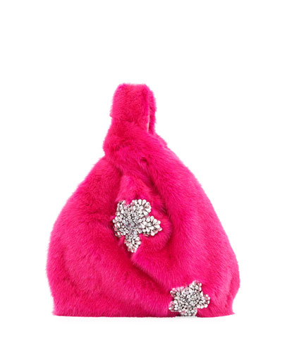 Furrissima Crystal Mink Fur Shopper Tote Bag, Fuchsia