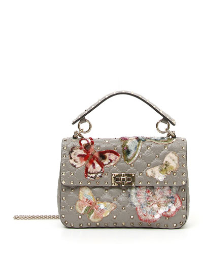 Spike.It Medium Rockstud Shoulder Bag with Sequined Butterflies
