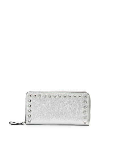 Rockstud Metallic Zip-Around Continental Wallet