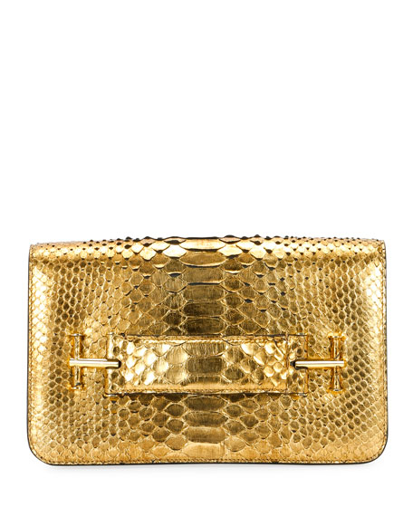 Tara Metallic Python Pochette Bag in Gold