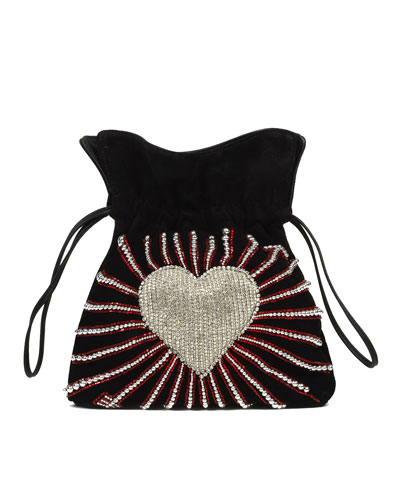 Trilly Heart Cupid Velvet Pouch Bag