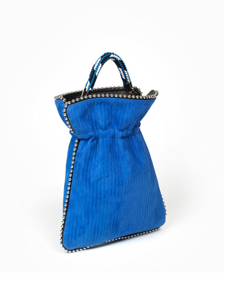 Trilly Big Beaded Suede Drawstring Pouch Bag, Blue