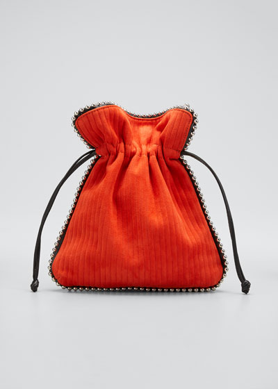 Trilly Beaded Suede Drawstring Pouch Bag